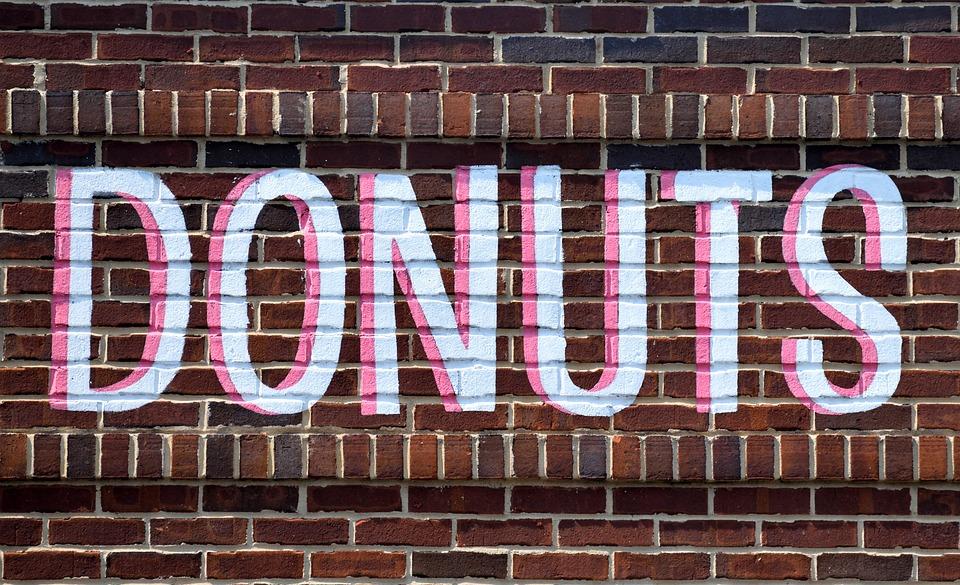 Brick Wall, Exterior, Building, Sign, Donuts Shop, Wall
