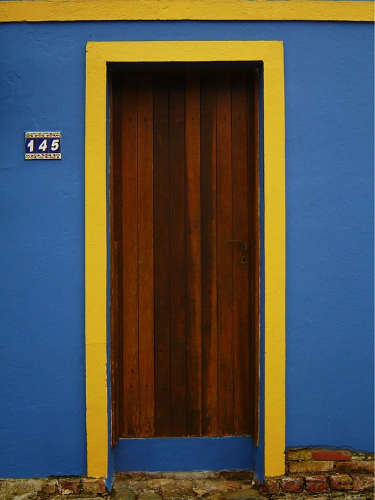 Door, Blue, Yellow, Architecture