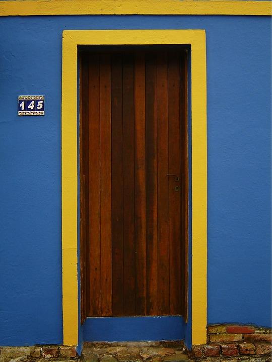 Door, Blue, Yellow, Architecture