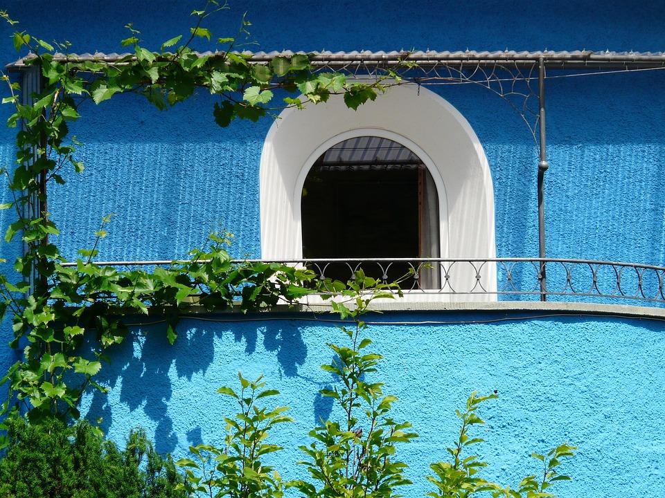 Goal, Door, Input, Balcony, Home, Facade, Blue