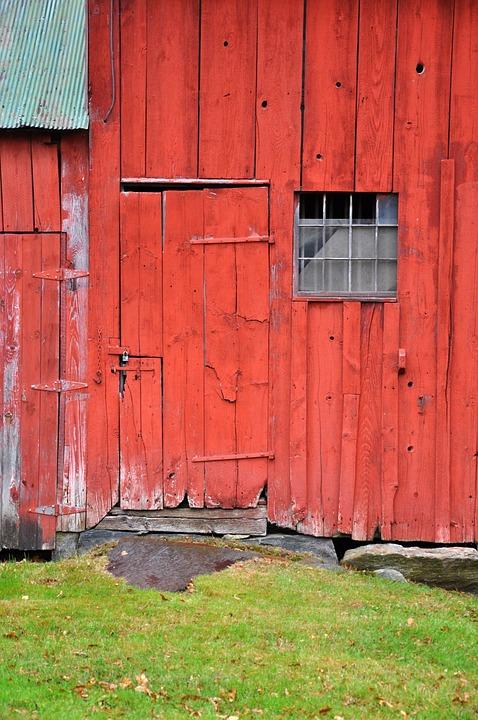 Vermont, Barn, Door, Red, Wood, Old, Weathered, Wooden