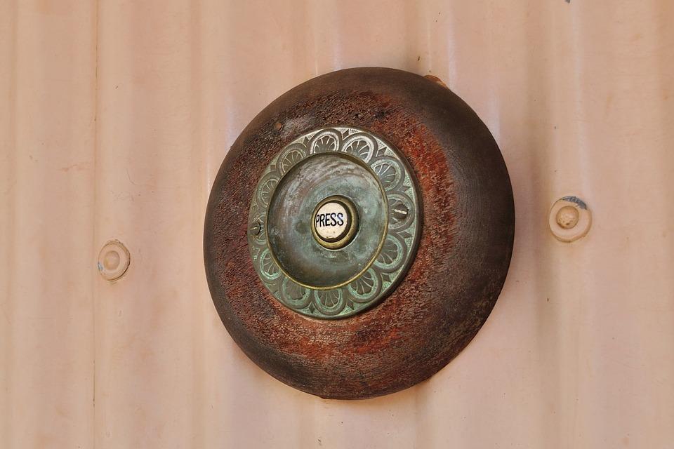 Door Bell, Press, Button, Antique, Metal, Electric