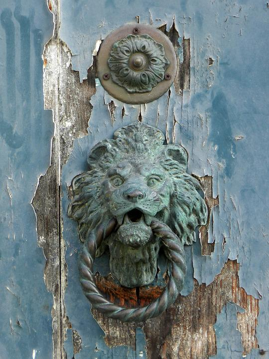 Door, Blue, Door Knocker, Knocker, Lion, Brass, Old