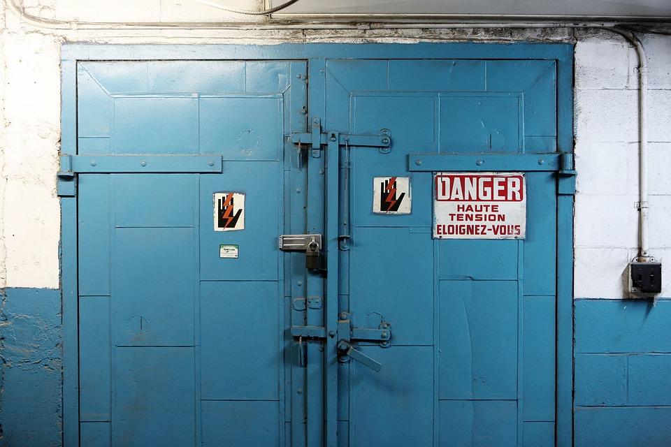 Door, Danger, High Voltage, Electricity, Blue, Wall
