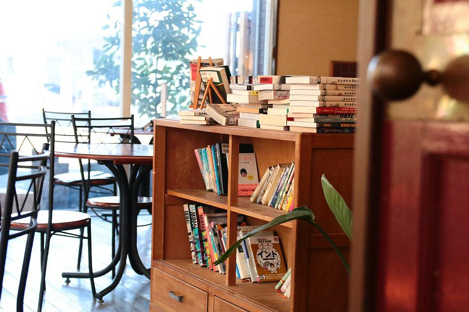 Cafe, Bookshelf, Door, Desk, Chair, Book