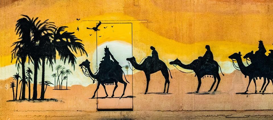 Camels, Desert, Caravan, Grafitti, Wall, Door