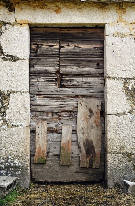 Door, Wooden Door, Doorpost, Old, Vintage, Closed, Ruin