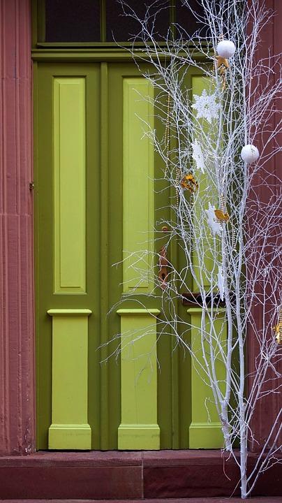Door, Green, Christmas, Decoration, Input