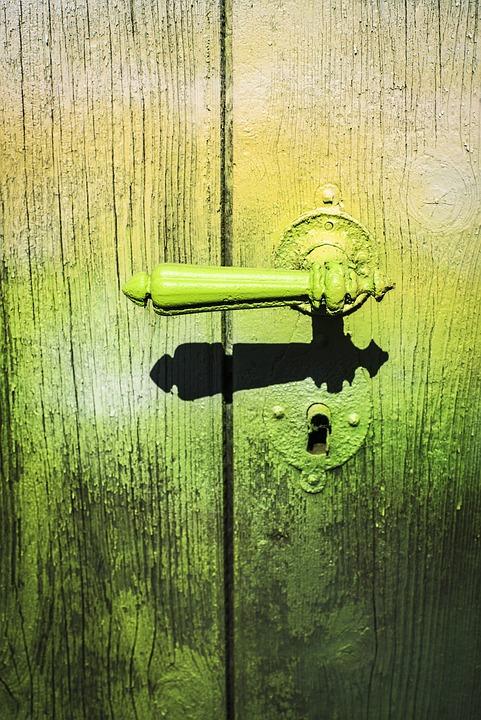 Door Handle, Old, Graffiti, Old Door, Wood, Door Lock