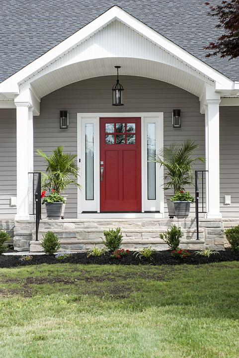Red Door Porch Exterior Home House Design