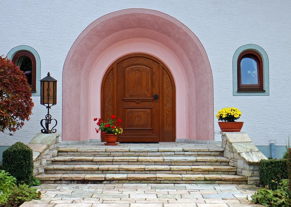 Round Arch, Front Door, Entrance Door, Wood, Door, Home