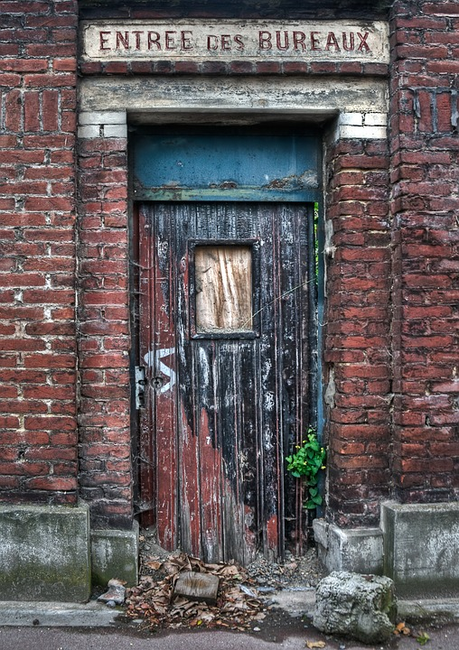 Door, Dilapidated Building, Entry, Office, Hdr