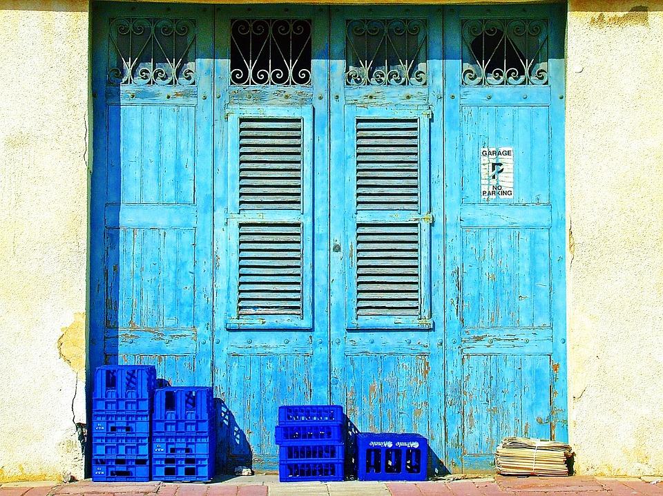 Blue Doors, Blue Shutters, Weathered, Old, Blue, Door