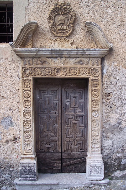 Old Port, Portal, Wood Door, Brown, Door
