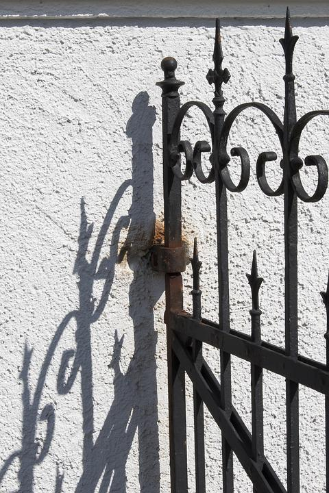 Goal, Wrought Iron, Old, Input, Metal, Ornament, Door