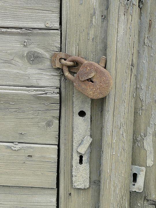 Lock, Door, Padlock, Rust, Wood