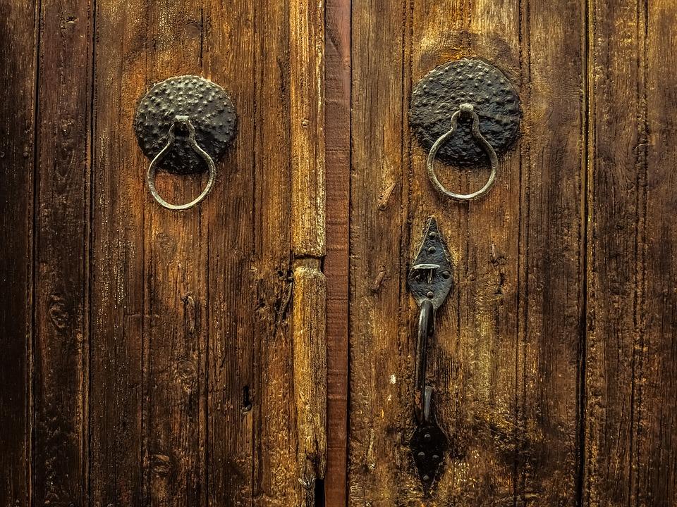 Wooden Wood Door Old Desktop Rustic Doorknob