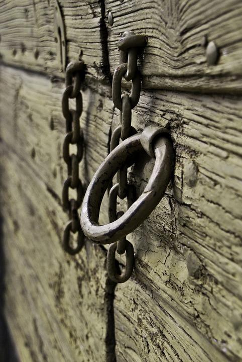 Ring, Door, Wood, Old, Chain, Metal, Steel, Security