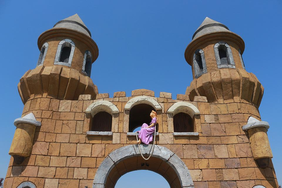 Rapunzel, Tower, Door, Stone, Building, Sky, Purple