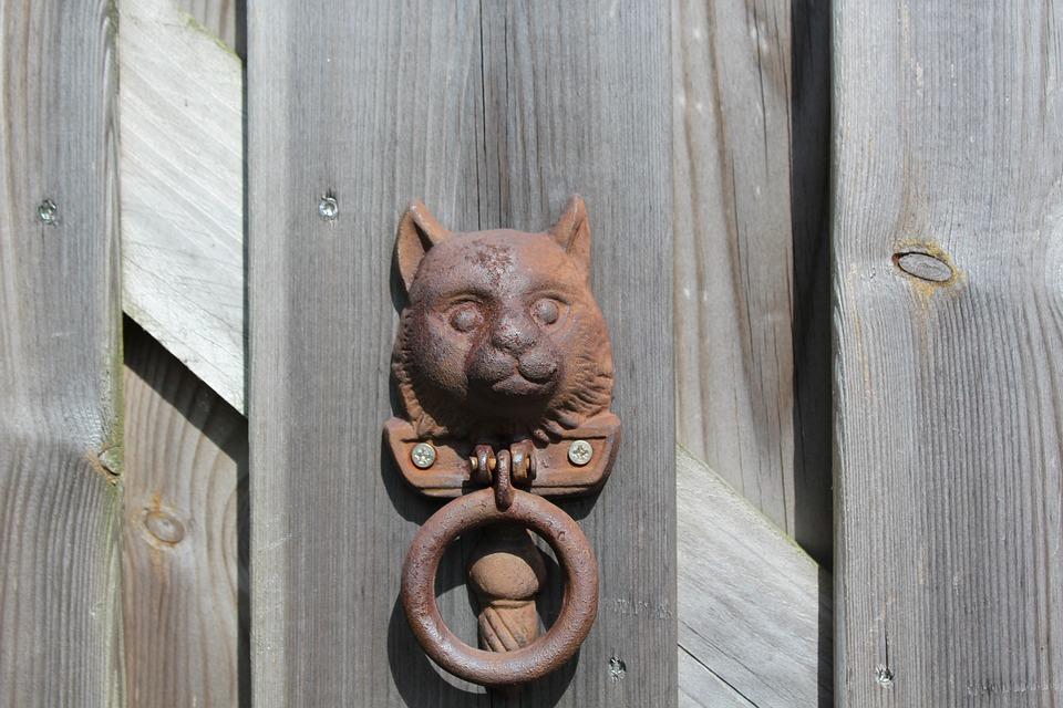 Knock, Gate, Cat, Old, Wood, Decoration, Doorknob, Home