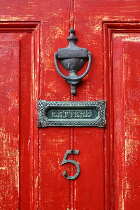 Front Door, Doorknocker, Mailbox, Yorkshire, Red
