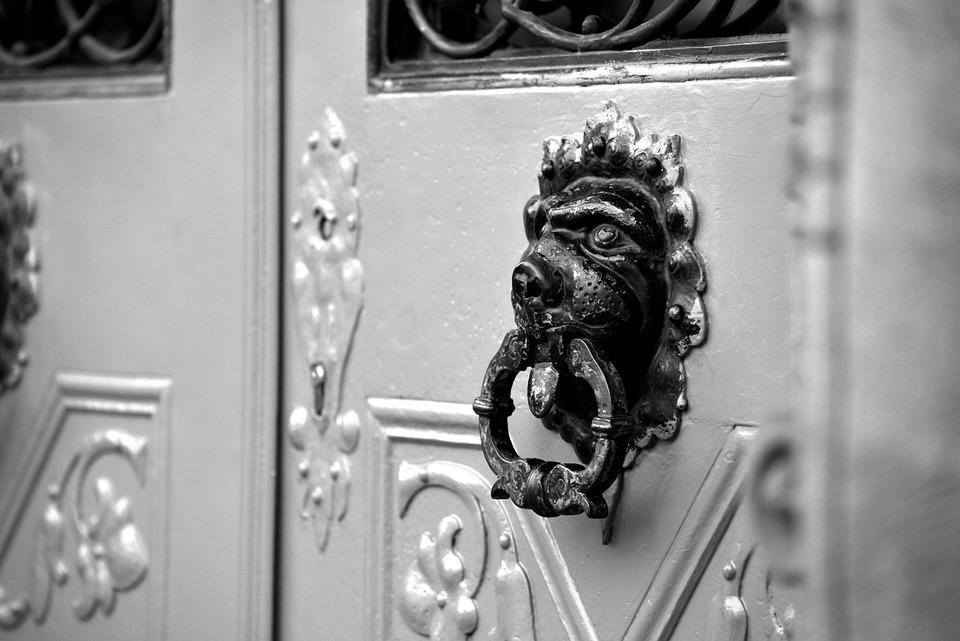 Front Door, Doorknocker, Input, Door, Fitting, Old