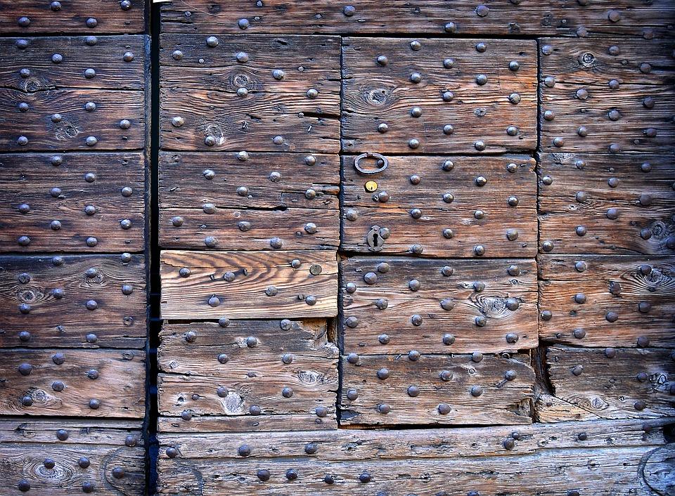 Castle, Doorknocker, Goal, Door, Rivet, Wooden Beams