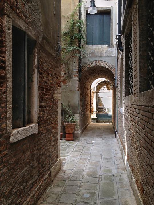 Venice, Italy, Bricks, Doorway, Light, Narrow, Street