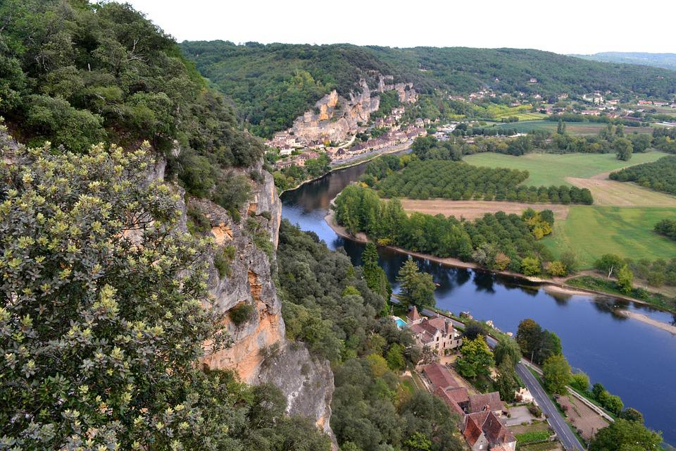 River, Dordogne, Aerial View, France, Forest, Landscape