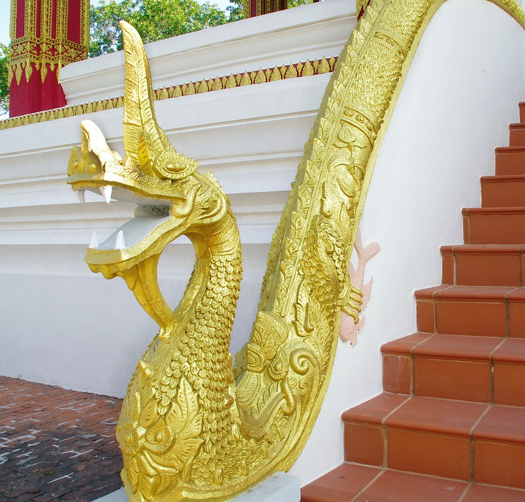 Laos, Luang Prabang, Staircase, Ramp, Naja, Doré