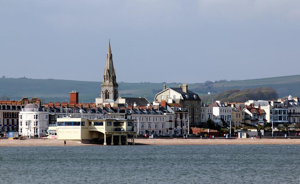 Weymouth, Sea, Front, Beach, England, Dorset, Clouds