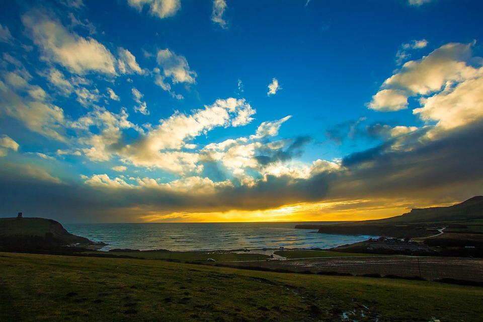 Sea, Sunset, Dorset, The Sky, Clouds, Horizon