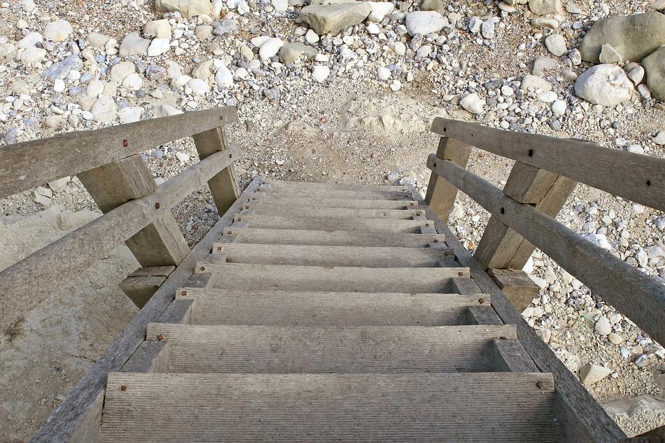 Banister, Beach, Climb, Climbing, Dangerous, Down