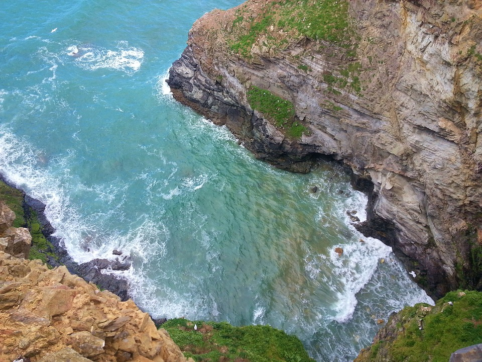 Cliff, Down, Sea, Nature, Rock, Landscape, Coast, Water