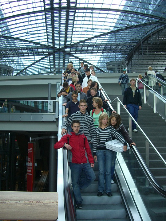 Escalator, Down, Berlin, Central Station, Glass Roof
