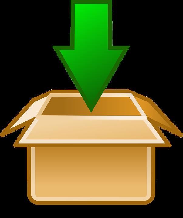 Download, Down, Arrow, Green, Package, Cardboard Box