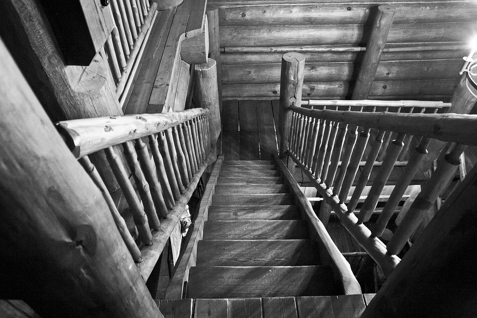 Stairs, Perspective, Wood, Old, Steps, Downstairs