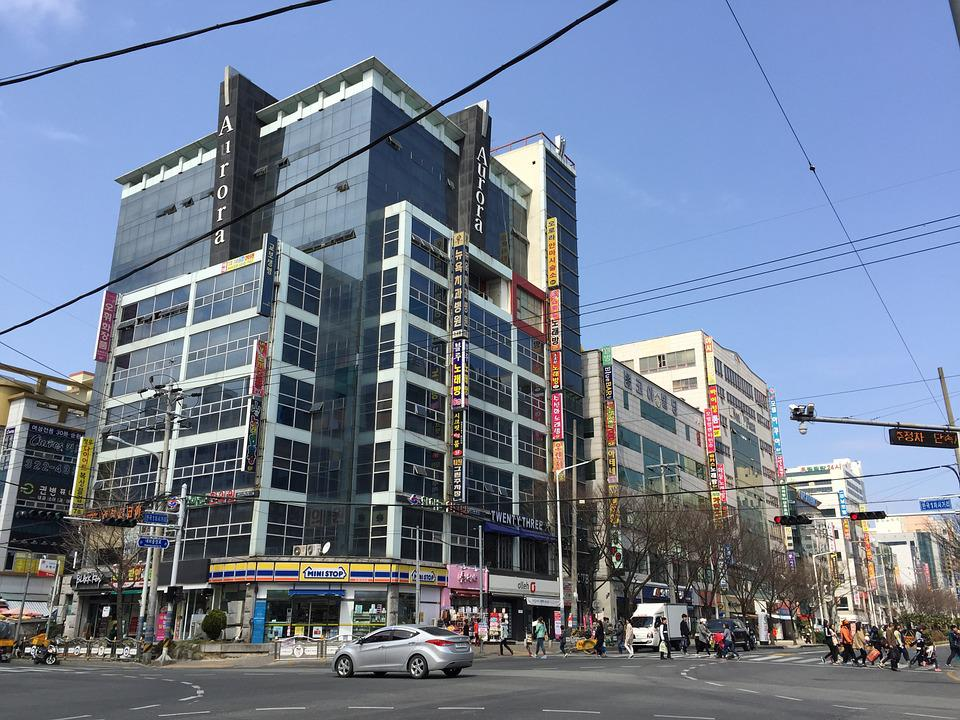 Gimhae, Downtown, Street, Korea, Building, City, Urban