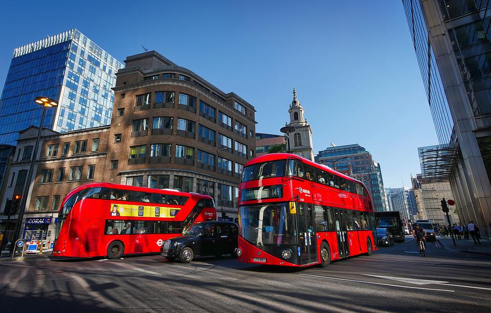London, Bus, Red, Junction, Downtown, Street Scene