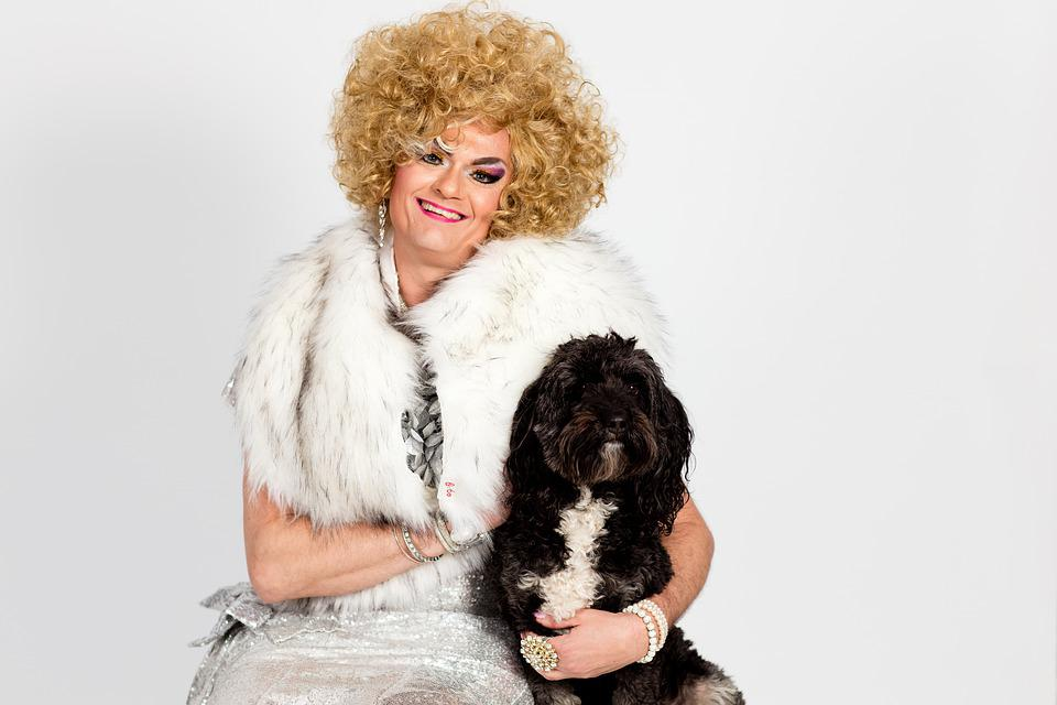 Drag Queen, Cute, Curly, Woman, Young, Dog, Happiness