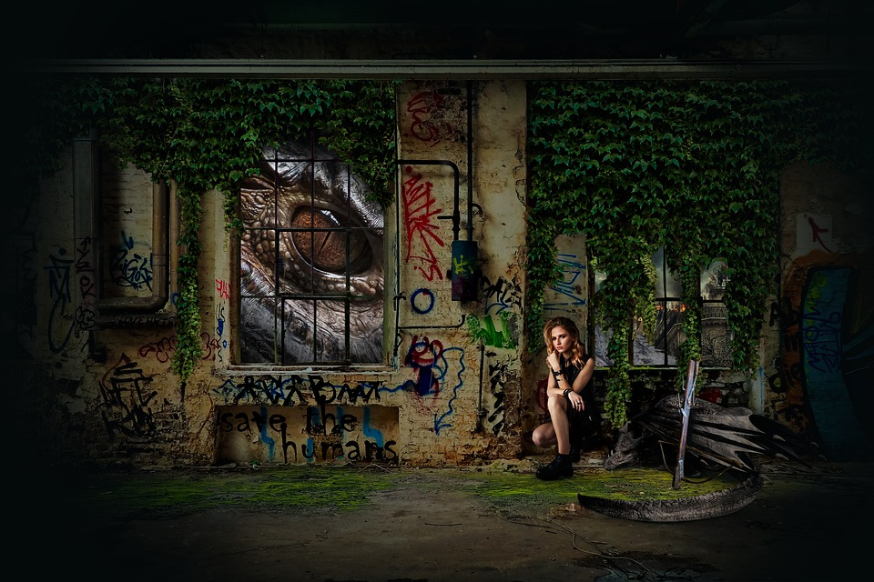 Dragon, War, Warrior, Crossbow, Apocalypse, Graffiti