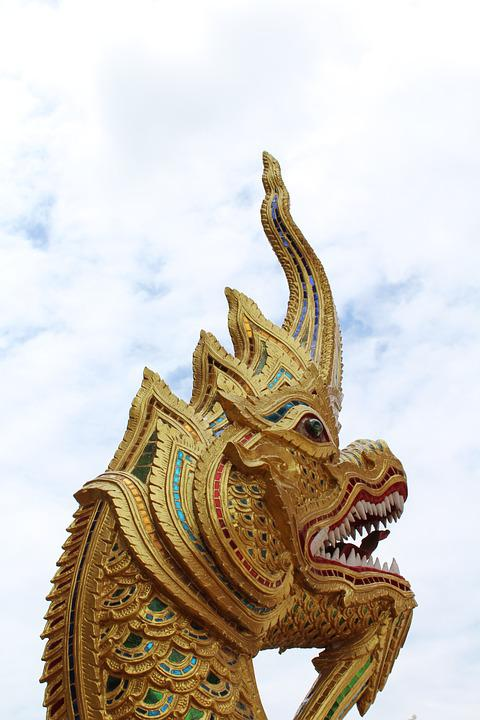 Face, Dragon, Thailand, Blue Sky