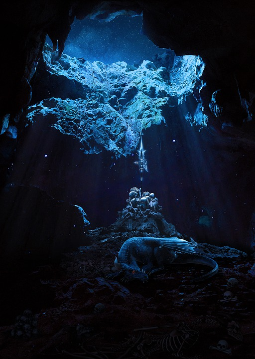 Dragon, Cave Animal, Night, Starry Sky, Nature, Knife