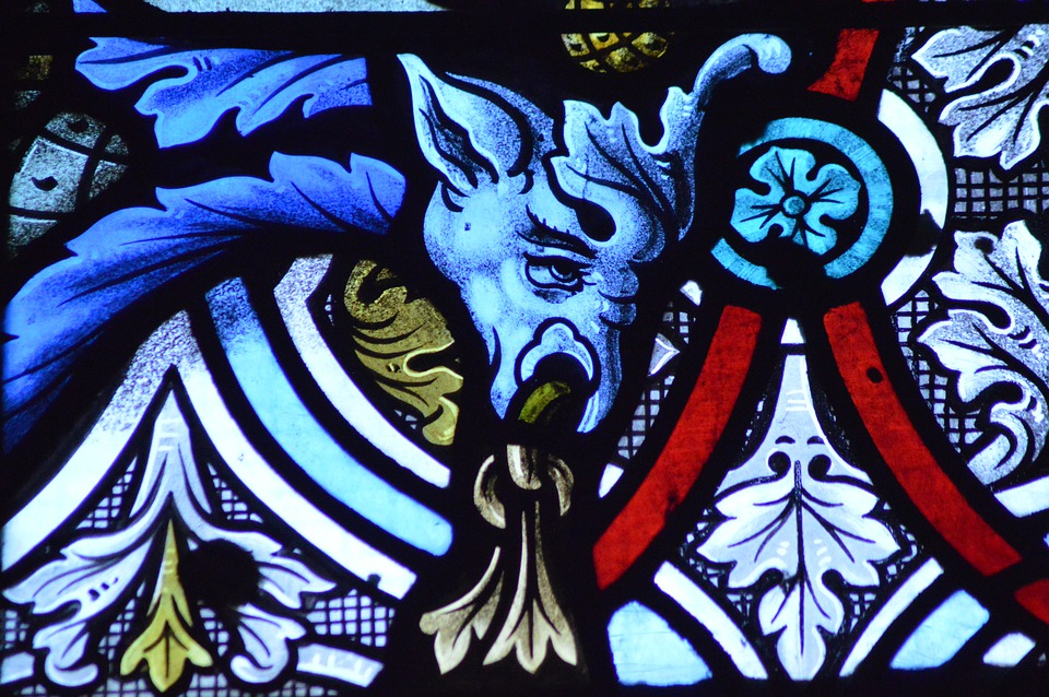Stained Glass, Window, Decorative, Dragon, Animal