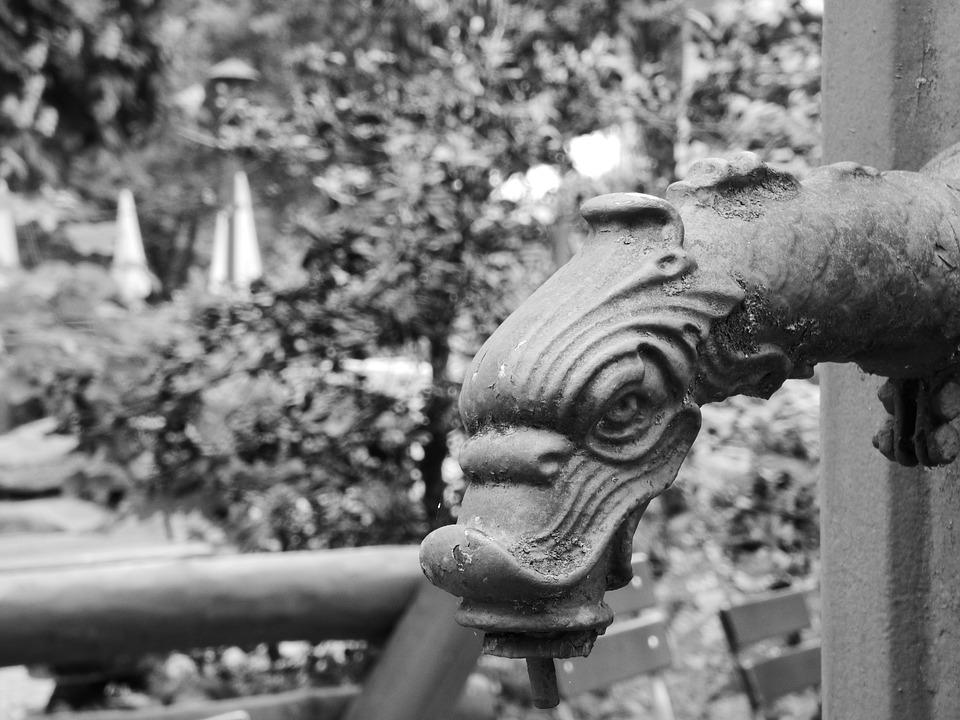 Fountain, Dragon, Dragon Fountain Figure