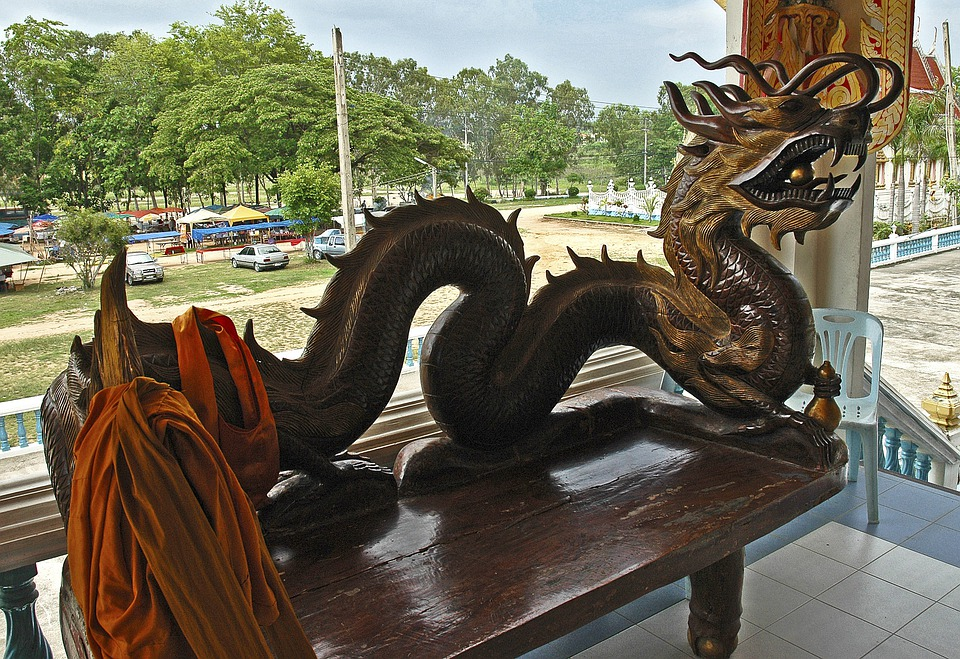 Dragons, Bank, Wood, Carving, Thailand
