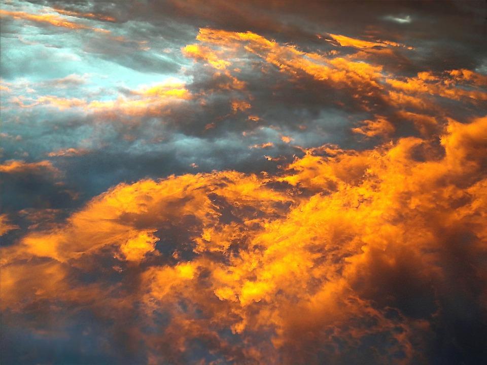 Nature, Sky, Afterglow, Orange, Cloudscape, Dramatic