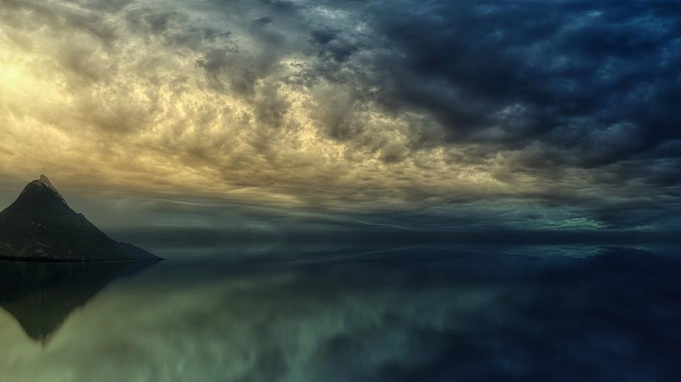 Sunset, Ocean, Island, Mountain, Clouds, Dramatic, Sea