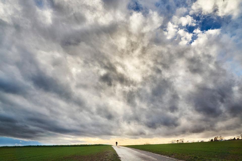 Sky, Dramatic, Field, Walk, Away, Landscape, Nature