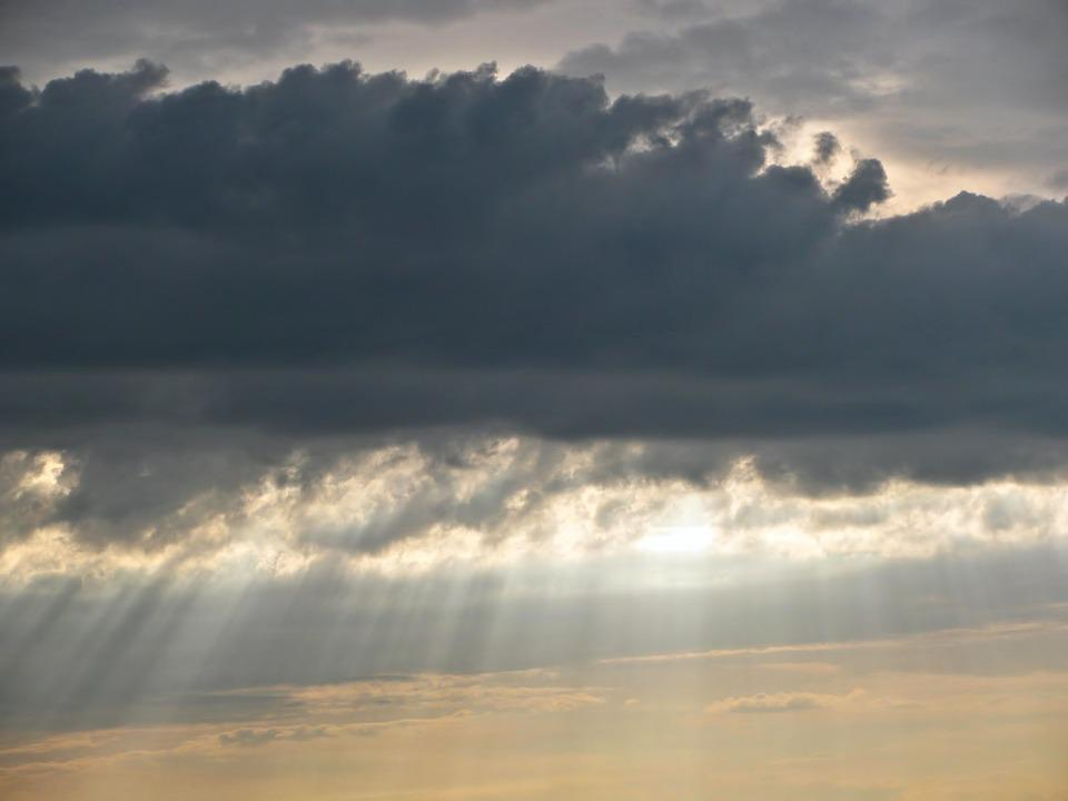 Clouds, Sky, Dramatic, God's Fingers, Light, Sunlight